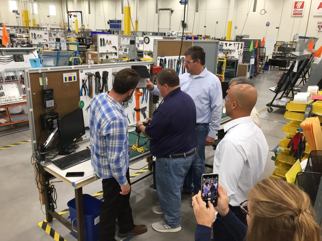 John Jasinski and Thom Petersen tour EarthScout manufacturing facility